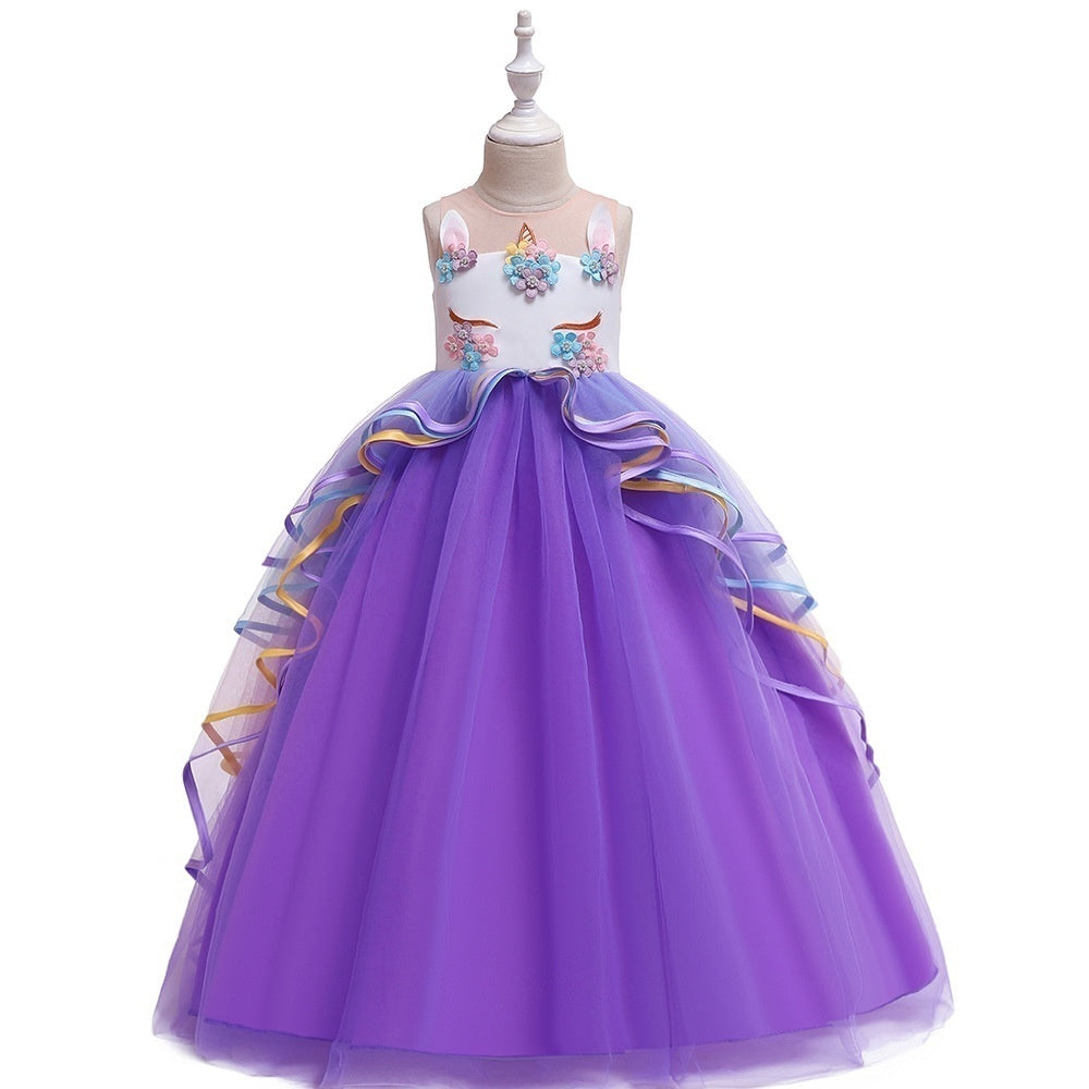 Kids Girls Pink Sleeveless Unicorn Appliques Princess Long Tulle Dress for Halloween Cosplay Carnival Birthday Party