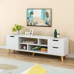 Modern Wood Multipurpose Organizer TV Cabinet,Coffee Table Television Stands TV Stand for Home Living Room Furniture with 3 Storage Cabinets & 4 Open Shelves(140x30x45 cm)