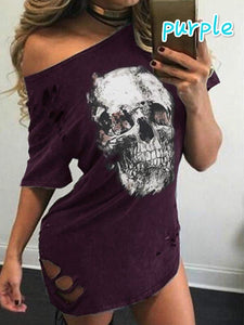 Women's Fashion Off Shoulder Skull Print Dress Casual Midweight Ripped Sexy Plus Size Dress