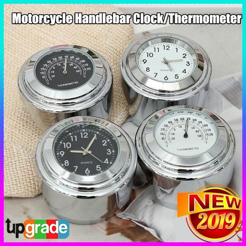 Motorcycle Handlebar Mount Dial Clock/Thermometer Waterproof Universal Accessory Durable Aluminum Alloy Clock Locked To Handlebar