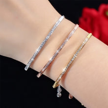 Load image into Gallery viewer, Half Bar CZ Paved 18k Gold/Silver/Rose Gold Plated Adjustable Chain Bracelets Women/Girls Fashion Jewelry, for Love, Anniversary, Brithday, Valentine's Day,Women's Day