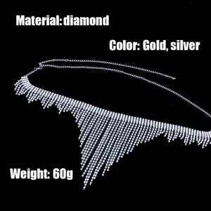 Sexy exaggerated body waist chain nightclub full diamond super flashing tassel bikini fashion body waist chain
