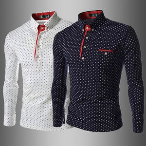 NEW Fashion Men's Slim Fit T Shirt In Polka Dot Long Sleeve Dot Print Shirt ( Size: XS~XXXL )