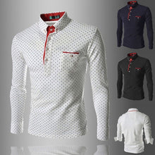 Load image into Gallery viewer, NEW Fashion Men's Slim Fit T Shirt In Polka Dot Long Sleeve Dot Print Shirt ( Size: XS~XXXL )
