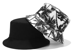Men Women Bucket Hat Fashion Coconut Tree Print Double Side Hats Vintage Canvas Fisherman Hat Women Couple Sunhat Cap Hip Hop Punk Hat Outdoor Cap
