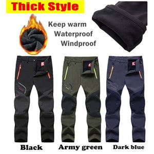 Thick Styles Men's Outdoor Waterproof Hiking Trousers Camping Climbing Fishing Skiing Trekking Softshell Fleece Warm Pants Plus Size S-5XL