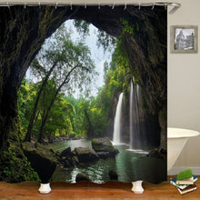 Load image into Gallery viewer, Nature Scenery Trees Waterfall Stone Pattern Printing Waterproof Shower Curtain Non-Slip Floor Mat + Bath Rug + Toilet Cover  Bathroom Set