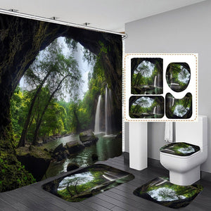 Nature Scenery Trees Waterfall Stone Pattern Printing Waterproof Shower Curtain Non-Slip Floor Mat + Bath Rug + Toilet Cover  Bathroom Set