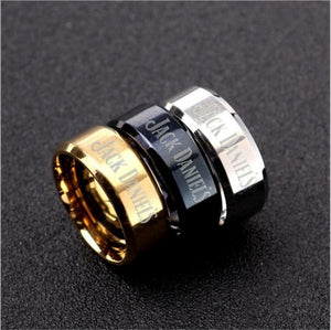 Mens Jack Daniels Ring Stainless Steel Ring Band Titanium Silver Black Gold Blue Wedding ring Mens Gift