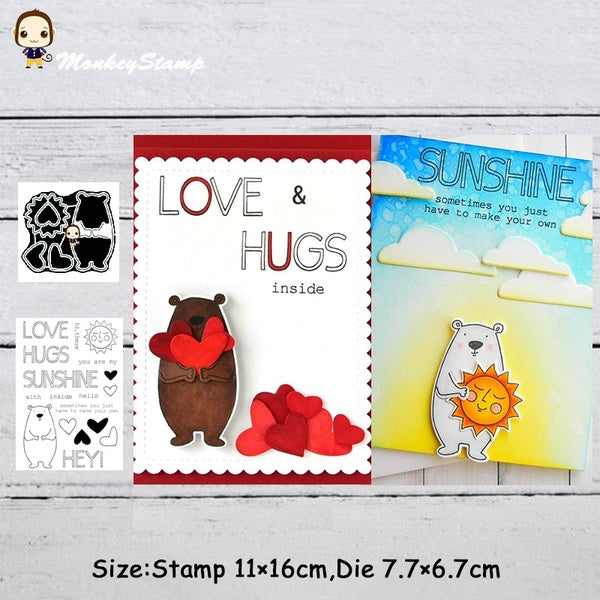 Lovely Bear Metal Cutting Dies and Stamps Stencil for DIY Scrapbooking Photo Album Embossing Decorative Craft Die