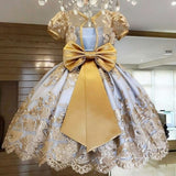 Kids Girl Europe and America Royal Yellow Embroidery Flower Lace Tulle Princess Dress for Birthday Masquerade Halloween Christmas  Evening Gown Party