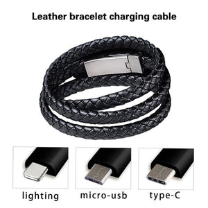 New 3 Size Plug-in Cable Bracelet Type-C USB Bracelet of Cable Cable Syncing Cable Data Charger for Android Phone Iphone with Box