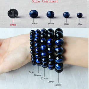 6/8/10/12mm Natural Blue Tiger Eye Bracelets Stone Beads Charm Jewelry