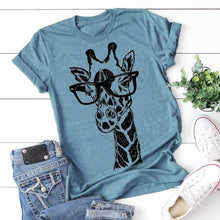 Load image into Gallery viewer, New Women Summer Fashion Short Sleeve Round Neck T-shirt Cute Giraffe Graphic Printed Shirt Casual Loose T-shirt Plus Size Tops S-XXXXXL