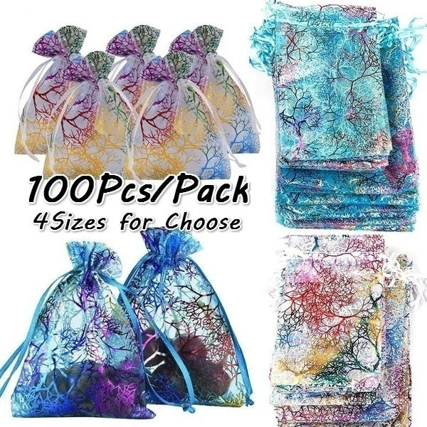 100pcs Glitter Jewelry Pouch Sheer Organza Bags Gift Packaging Empty Bag Wedding Party Decoration Candy Bag