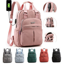 Load image into Gallery viewer, Canvas Couple Backpack Durable with USB Charging Port Men Women Anti Theft Laptop Bags Casual Travel School Shoulder Bag