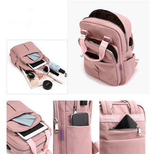 Canvas Couple Backpack Durable with USB Charging Port Men Women Anti Theft Laptop Bags Casual Travel School Shoulder Bag