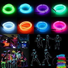 Load image into Gallery viewer, 1M EL Wire LED Light Neon Glowing Wire, 2/3/4/5-in-1 Splitter Cable, USB/Sound Activated/Battery/Car Cigarette/12V Controller, DIY Decoration for Parties, Halloween, Blacklight Run, Car Decor