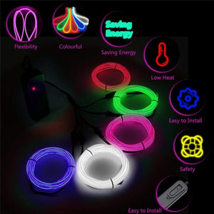 1M EL Wire LED Light Neon Glowing Wire, 2/3/4/5-in-1 Splitter Cable, USB/Sound Activated/Battery/Car Cigarette/12V Controller, DIY Decoration for Parties, Halloween, Blacklight Run, Car Decor