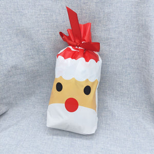 10pcs/lot 23*15cm Lovely Gift Bags Candy Cookies Bag Merry Christmas Party Favor Biscuit Package Plastic Bag Ribbon Bundle Pocket