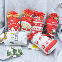 Load image into Gallery viewer, 10pcs/lot 23*15cm Lovely Gift Bags Candy Cookies Bag Merry Christmas Party Favor Biscuit Package Plastic Bag Ribbon Bundle Pocket