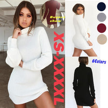 Load image into Gallery viewer, Autumn and winter women's casual long-sleeved knit sweater dress women's large size slim knit bottoming mini dress warm high collar dress female