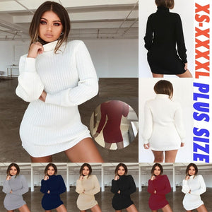 Autumn and winter women's casual long-sleeved knit sweater dress women's large size slim knit bottoming mini dress warm high collar dress female