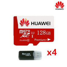 Load image into Gallery viewer, 4Pcs HuaWei High Speed 128GB TF/SD Memory Card Micro SDXC Card Class 10 UHS-1