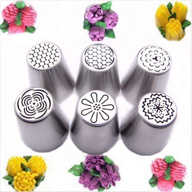 6/12PCS Russian Tulip Flower Icing Piping Nozzles Tips Set Cake Decoration Tools Boquillas Cupcake Cream Pastry Baking Supplies