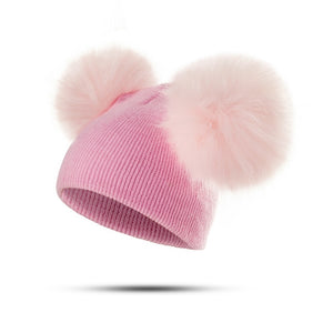 REAKIDS Baby Hat Fluffy Winter Hat Children's Hat Hair Ball Cap Cute Knit Hat Girls Wear Casual Solid Color Girls Hat Baby Hat