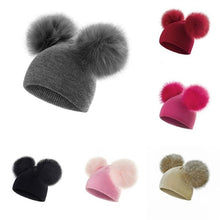 Load image into Gallery viewer, REAKIDS Baby Hat Fluffy Winter Hat Children's Hat Hair Ball Cap Cute Knit Hat Girls Wear Casual Solid Color Girls Hat Baby Hat