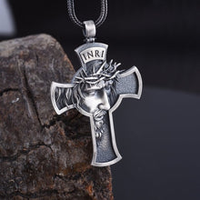 Load image into Gallery viewer, Jesus Cross Necklace, Men's Jewelry, Religious Savior Pendant, Silver Christian Accessories, Oxidized Christ Medal, Jesus Gift