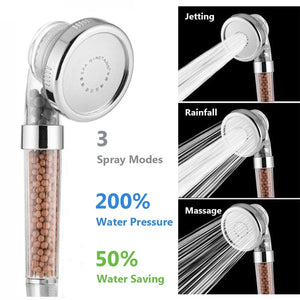 3 Mode Shower Bath Head Adjustable Shower Head High Pressure Water Saving Anion Filter SPA Nozzle Handheld with Negative Ion Activated Ceramic Balls Shower Head Bathroom Accessories