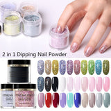 BORN PRETTY 2in1 Acrylic Powder Nail Dip Without Cure Dip Nail Powder Natural Dry Healthy Nail Extension Tool