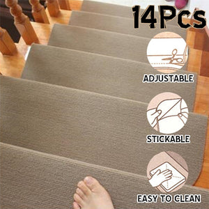 14Pcs/set Stair Treads Mat Rectangle Non-slip Stair Rugs Stair Mats Pure Color Style Pads Stair Carpet 2 Colors