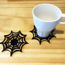 Load image into Gallery viewer, 5/10Pcs Halloween Non-woven Coaster Spider Web Felt Insulation Pad