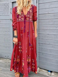 Women Fashion Sexy Casual Floral Long Sleeve Bohemian Dress Loose Autumn Plus Size Tassel Long Holiday Dress
