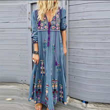 Load image into Gallery viewer, Women Fashion Sexy Casual Floral Long Sleeve Bohemian Dress Loose Autumn Plus Size Tassel Long Holiday Dress