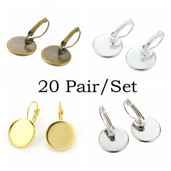 20Pair Jewelry Making Supplies Round Cabochon Setting Accessories DIY Jewelry Earring Eardrop Base