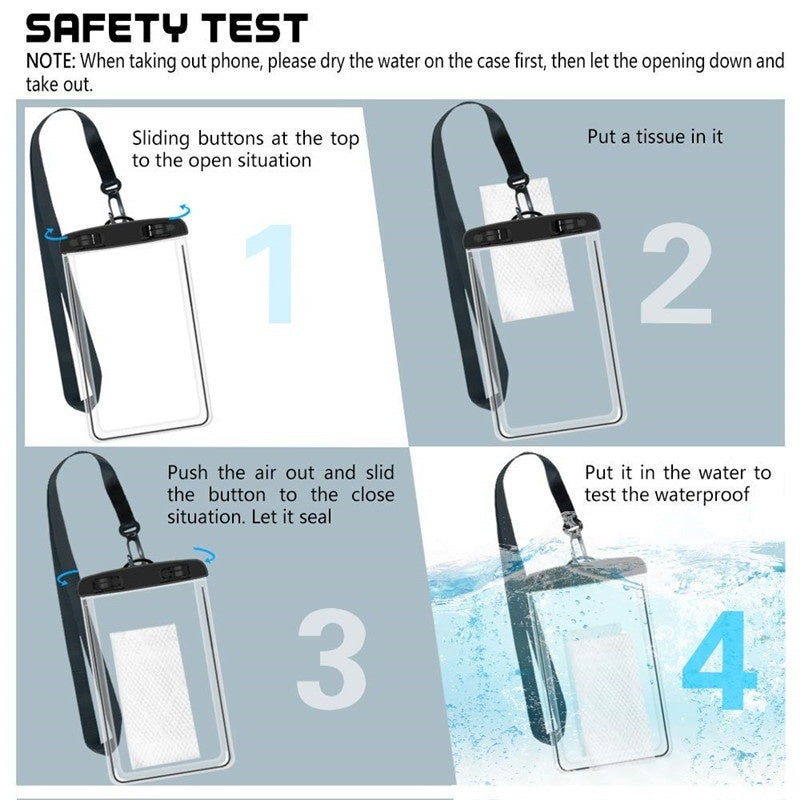 Mobile Phone Universal Waterproof Pouch Bag - Waterproof Mobile Phone Case Dry Pouch Bag for Outdoor, Swimming, Boating, Outing, Hiking, Beach(excluding Other Display Items Such As Mobile Phones)