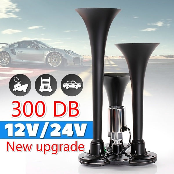 12V/24V 300 DB Ultra Loud Black Metal Air Horn Kit Triple 3 Trumpet Car Truck Train