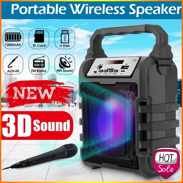 Surprise! Hot Sale Outdoor Portable Wireless Speaker Handsfree Karaoke Speaker With/Without Microphone Support TF Card/U Disk/AUX-in For Smartphones Computers