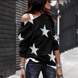 Women Casual Oblique Collar Long Sleeves Star Printed Plus Size T-Shirt Loose Cotton Blouse
