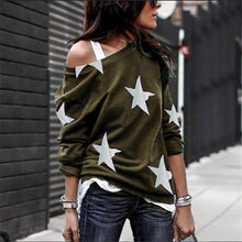Load image into Gallery viewer, Women Casual Oblique Collar Long Sleeves Star Printed Plus Size T-Shirt Loose Cotton Blouse