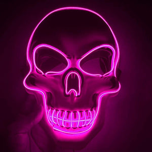 Halloween Skeleton Mask 4 Modes LED Light Masks Glow Scary Mask Light Up Cosplay Mask