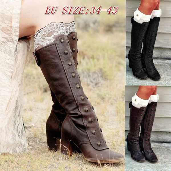 Women Vintage Medieval Boots Retro Cosplay High Heel Martin Boots Gothic Suede Leather Knee High Boots Steampunk Victorian Shoes