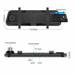 10 'Streaming Media Mirror Dash Cam Full-Screen Touching Dual Lens Night Vision 1080P Front 720P Backup Car DVR ADAS Touch Screen Car DVR Rearview Media Player