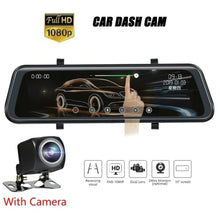 Load image into Gallery viewer, 10 'Streaming Media Mirror Dash Cam Full-Screen Touching Dual Lens Night Vision 1080P Front 720P Backup Car DVR ADAS Touch Screen Car DVR Rearview Media Player