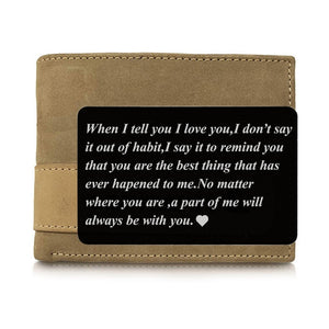1PCS Engraved Wallet Card Love Note Metal Insert for Husband Boyfriend Families I Love You Wallet Insert Card