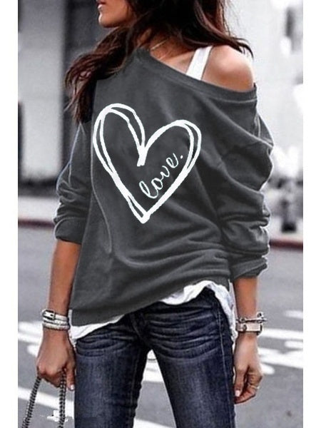 Women Fashion Plus size S-5XL Love Heart Printed Pullovers Long Sleeves Loose Cotton Sweaters Casual Off Shoulder Sweatershirt